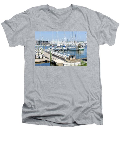 Men's V-Neck T-Shirt featuring the photograph Spa At 6th Street by Charles Kraus