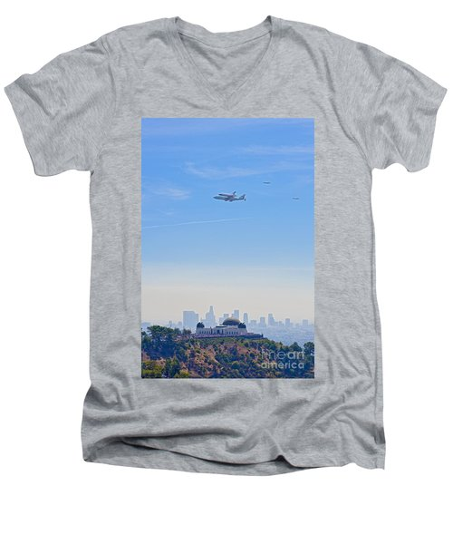 Space Shuttle Endeavour And Chase Planes Over The Griffith Observatory Men's V-Neck T-Shirt by David Zanzinger