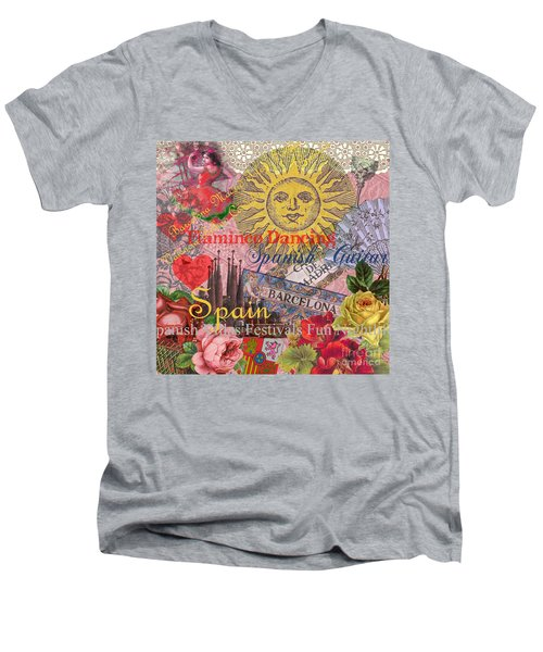 Spain Vintage Trendy Spain Travel Collage  Men's V-Neck T-Shirt