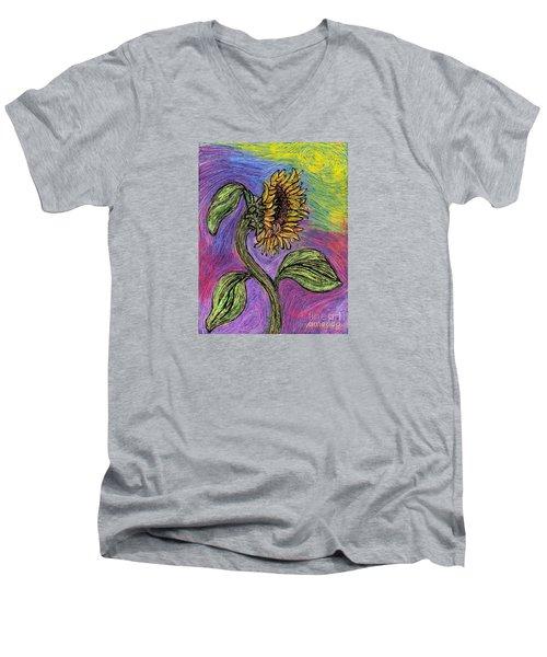 Spanish Sunflower Men's V-Neck T-Shirt by Sarah Loft