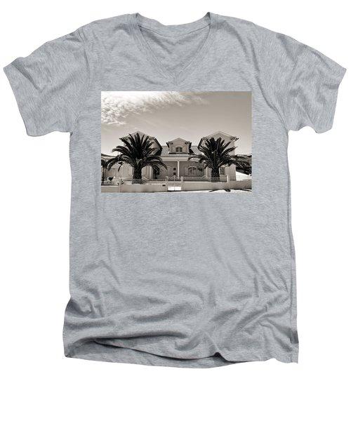 Spanish Village With Palm Trees Men's V-Neck T-Shirt