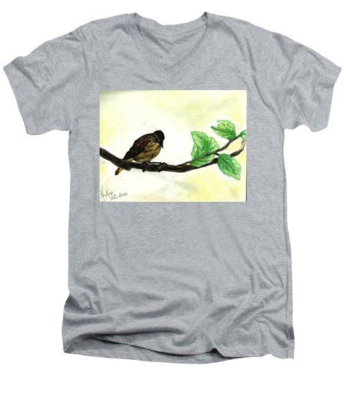 Sparrow On A Branch Men's V-Neck T-Shirt by Francine Heykoop