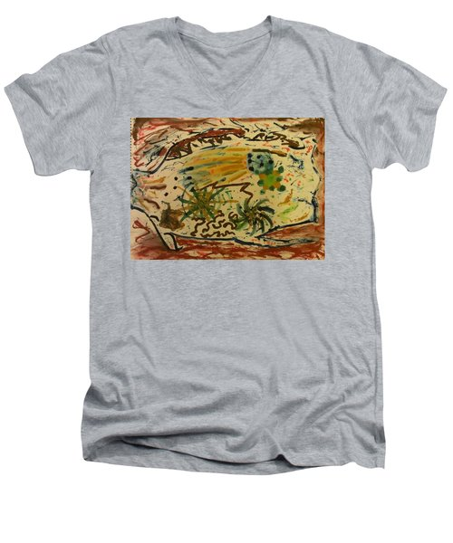 Men's V-Neck T-Shirt featuring the painting Evolution by Thomasina Durkay