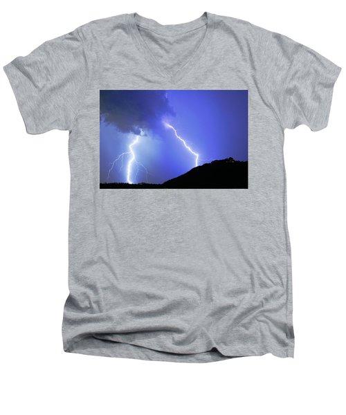 Spectacular Double Lightning Strike Men's V-Neck T-Shirt