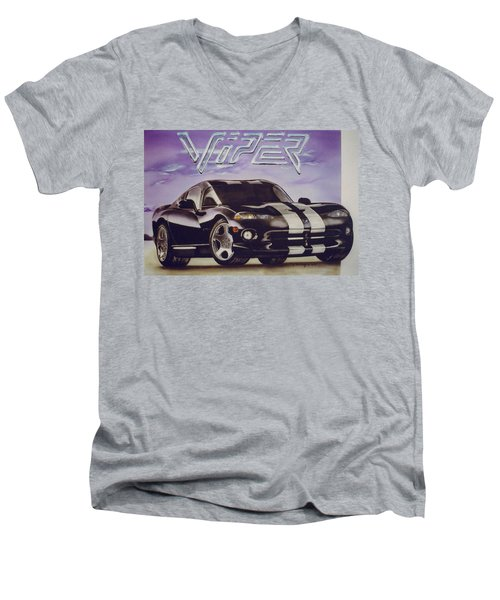Men's V-Neck T-Shirt featuring the painting Speed At A Standstill by Thomas J Herring