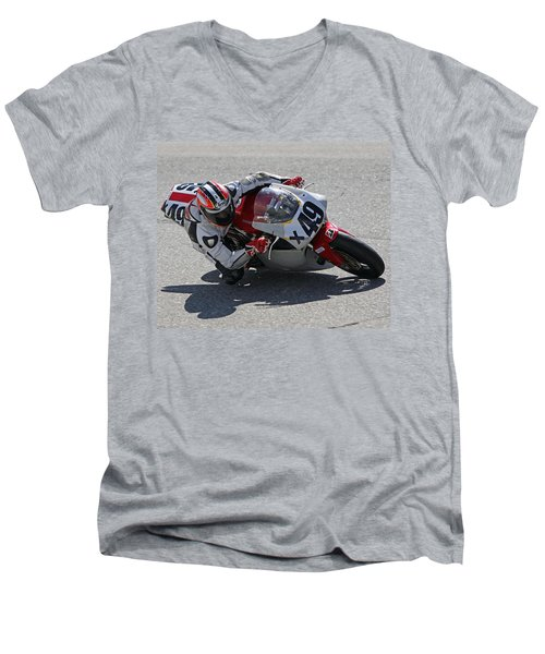 Men's V-Neck T-Shirt featuring the pyrography Speed In The Corner by Shoal Hollingsworth