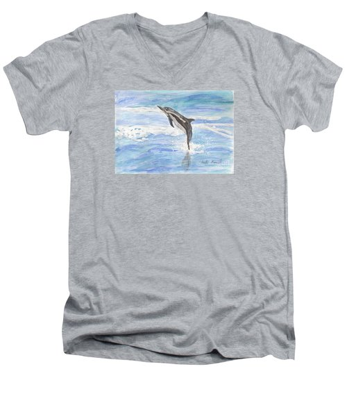 Spinner Dolphin Men's V-Neck T-Shirt by Pamela  Meredith