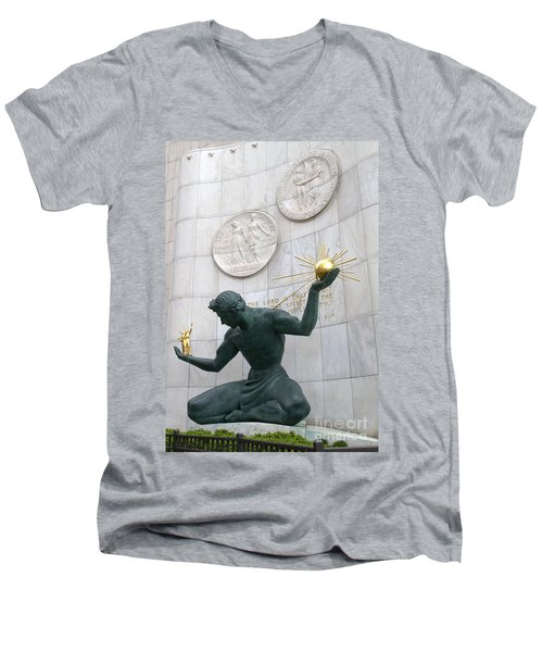 Spirit Of Detroit Monument Men's V-Neck T-Shirt by Ann Horn