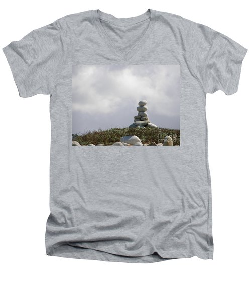 Spiritual Rock Sculpture Men's V-Neck T-Shirt