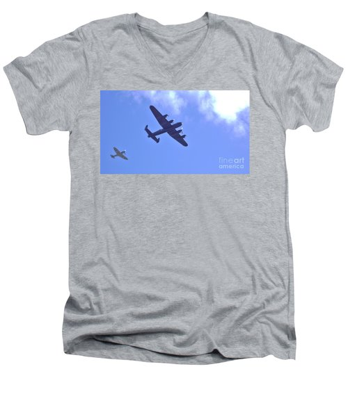 Men's V-Neck T-Shirt featuring the photograph Spitfire  Lancaster Bomber by John Williams
