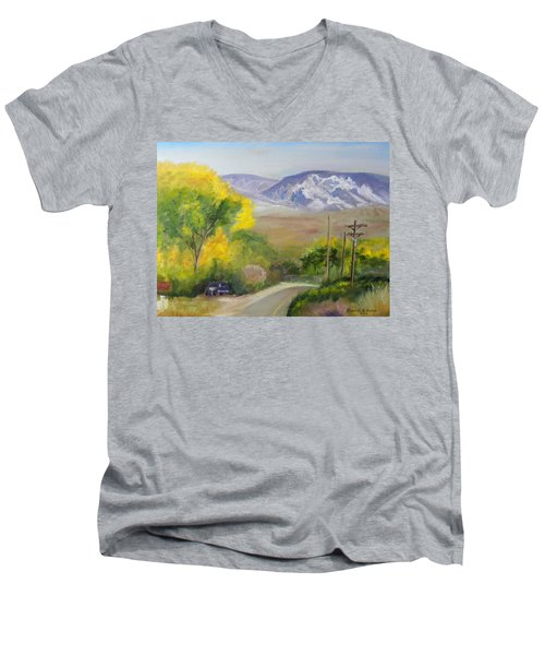 Men's V-Neck T-Shirt featuring the painting Split Mountain On Golf Course Road by Sherril Porter