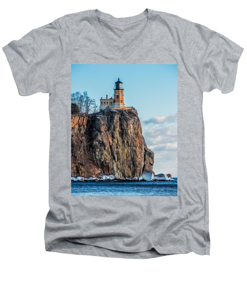 Split Rock Lighthouse In Winter Men's V-Neck T-Shirt by Paul Freidlund