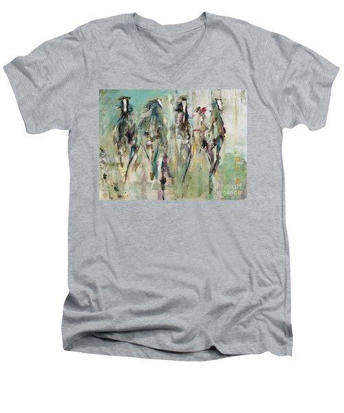Spooked Men's V-Neck T-Shirt by Frances Marino