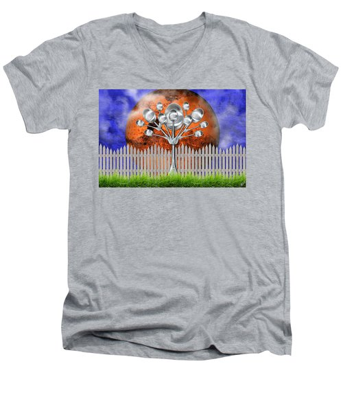 Men's V-Neck T-Shirt featuring the mixed media Spoon Tree by Ally  White