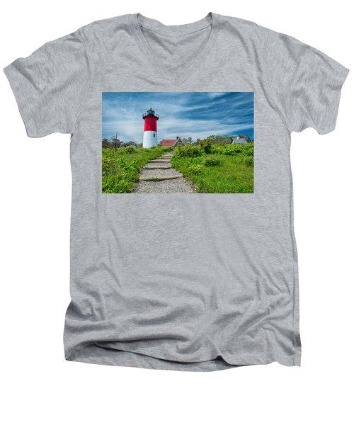 Spring At Nauset Light Men's V-Neck T-Shirt