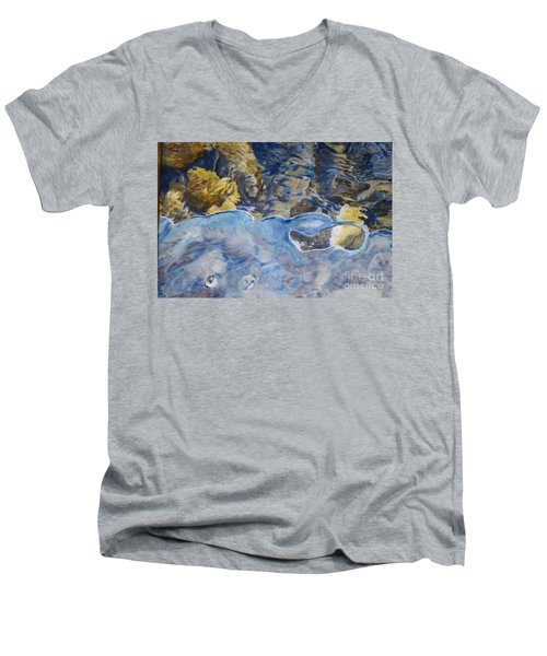 Men's V-Neck T-Shirt featuring the photograph Spring Drawing A Line In The Ice  by Brian Boyle