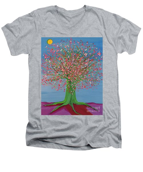Spring Fantasy Tree By Jrr Men's V-Neck T-Shirt