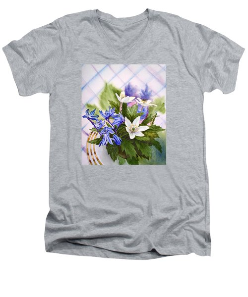 Men's V-Neck T-Shirt featuring the painting Spring Flowers by Irina Sztukowski