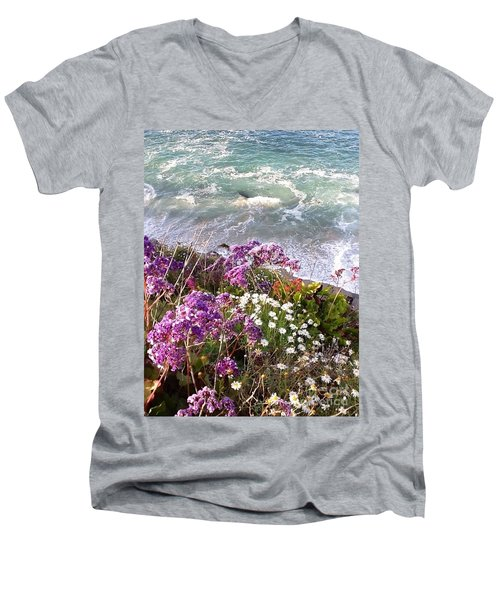 Men's V-Neck T-Shirt featuring the photograph Spring Greets Waves by Susan Garren