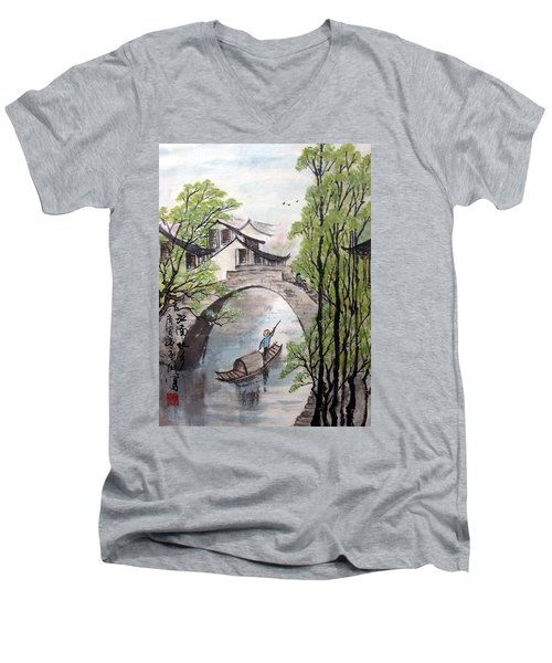 Men's V-Neck T-Shirt featuring the photograph Spring In Ancient Watertown by Yufeng Wang