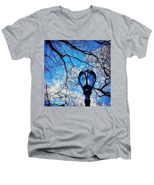 Spring In Central Park New York Men's V-Neck T-Shirt by Anna Porter