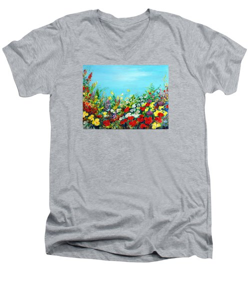 Men's V-Neck T-Shirt featuring the painting Spring In The Garden by Teresa Wegrzyn