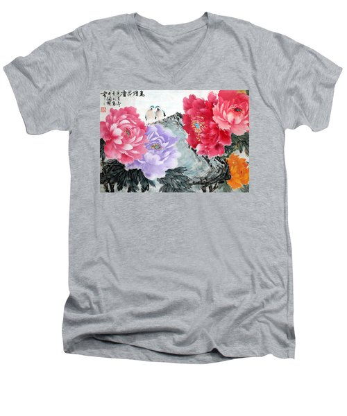 Men's V-Neck T-Shirt featuring the photograph Spring Melody by Yufeng Wang