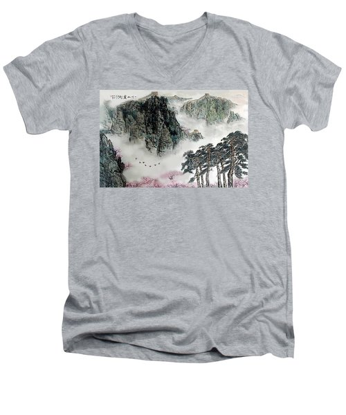 Men's V-Neck T-Shirt featuring the photograph Spring Mountains And The Great Wall by Yufeng Wang