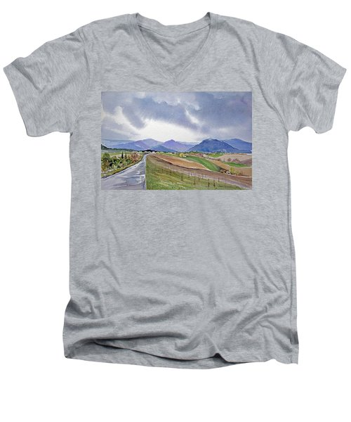 Men's V-Neck T-Shirt featuring the painting Spring Rain In Tuscany by Joan Hartenstein
