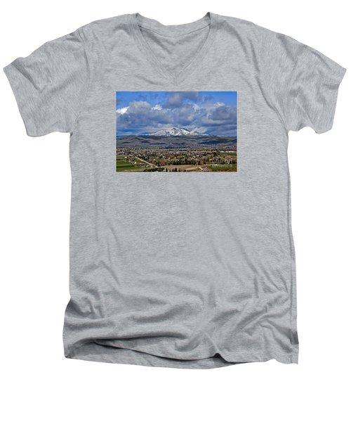 Spring Snow On Squaw Butte Men's V-Neck T-Shirt