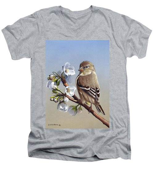 Men's V-Neck T-Shirt featuring the painting Spring Splendor by Mike Brown