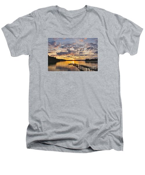 Men's V-Neck T-Shirt featuring the photograph Spring Sunrise by Sean Griffin