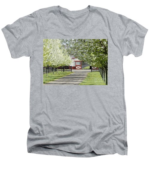 Men's V-Neck T-Shirt featuring the photograph Spring Time At The Farm by Sami Martin