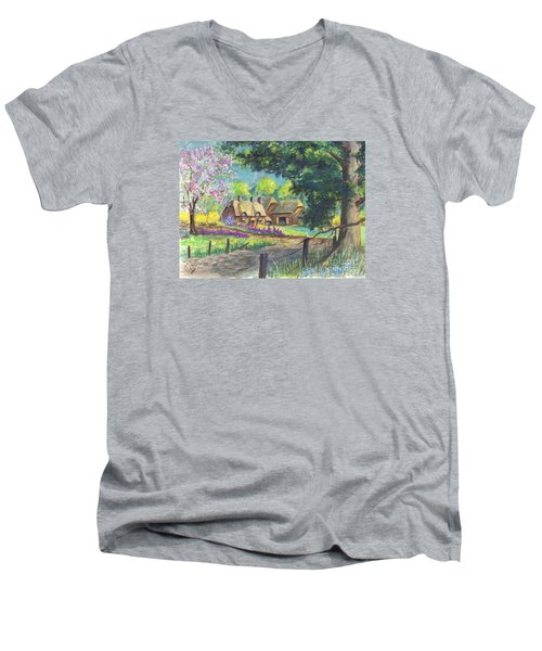 Men's V-Neck T-Shirt featuring the painting Springtime Cottage by Carol Wisniewski