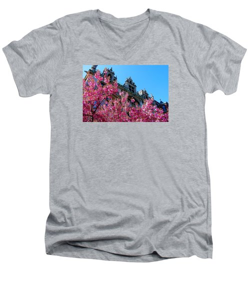 Springtime On Commonwealth Avenue Men's V-Neck T-Shirt