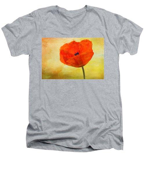 Springtime Poppy Beauty Men's V-Neck T-Shirt by Denyse Duhaime