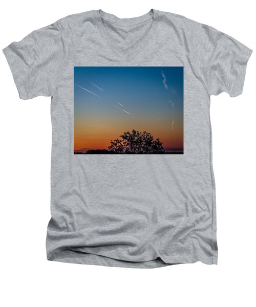 Squadron Of Jet Trails Over Ireland Men's V-Neck T-Shirt