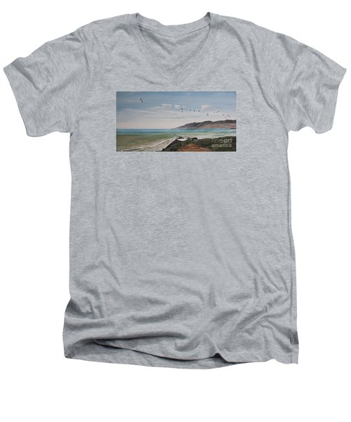 Men's V-Neck T-Shirt featuring the painting Squadron Of Pelicans Central Califonia by Ian Donley