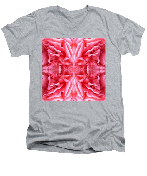 Men's V-Neck T-Shirt featuring the photograph Square Petals Abstract Art Photo by Marianne Dow