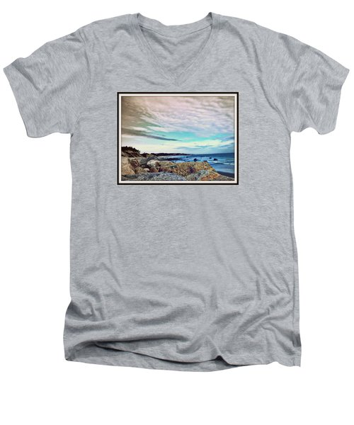 Squibby Cliffs And Mackerel Sky Men's V-Neck T-Shirt by Kathy Barney