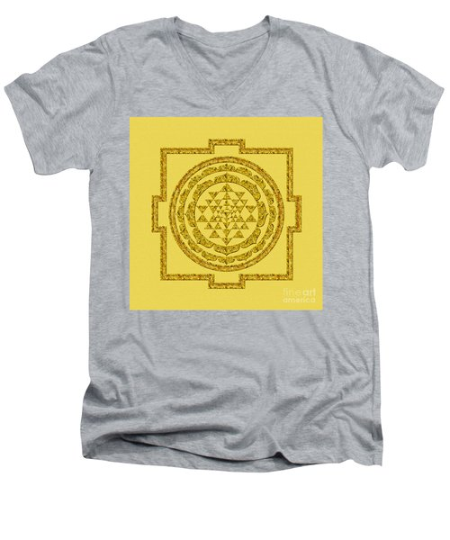 Sri Yantra In Gold Men's V-Neck T-Shirt by Olga Hamilton