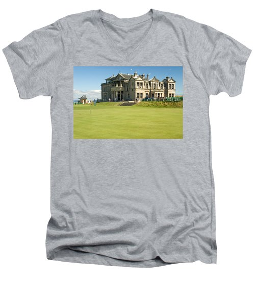 St Andrews Final Green And Clubhouse  Men's V-Neck T-Shirt by Jeremy Voisey