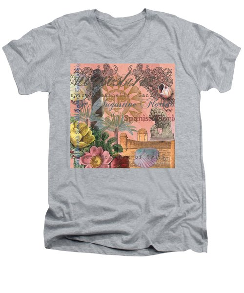 St. Augustine Florida Vintage Collage Men's V-Neck T-Shirt