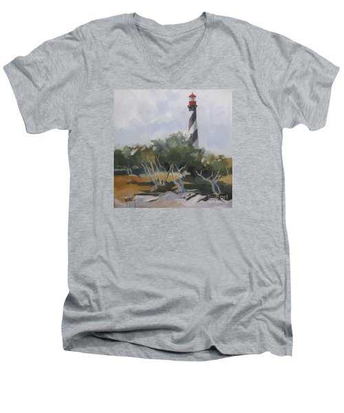 St Augustine Lighthouse First Light Men's V-Neck T-Shirt by Mary Hubley