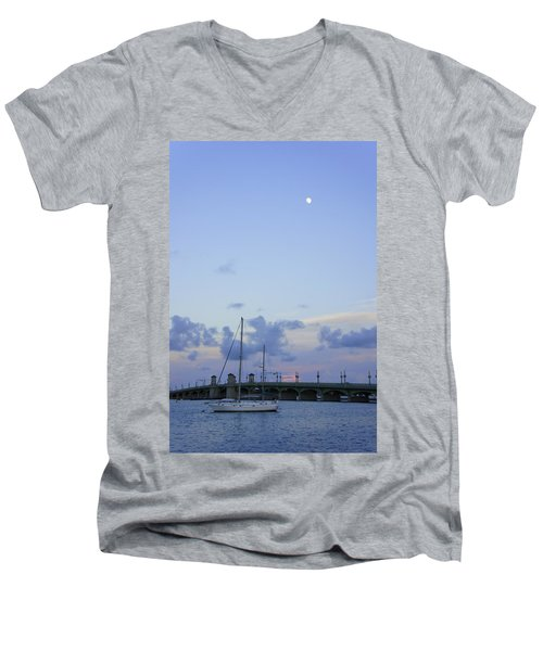 St. Augustine Sunset Men's V-Neck T-Shirt by Laurie Perry
