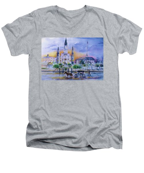 St. Charles New Orleans Sunset Men's V-Neck T-Shirt by Bernadette Krupa