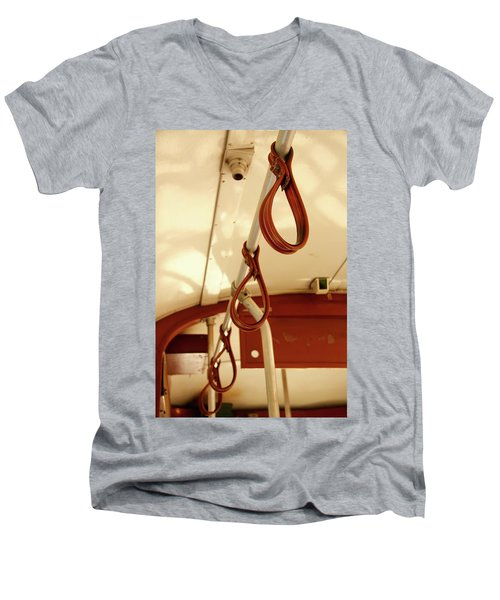 Men's V-Neck T-Shirt featuring the photograph St. Charles Streetcar by KG Thienemann