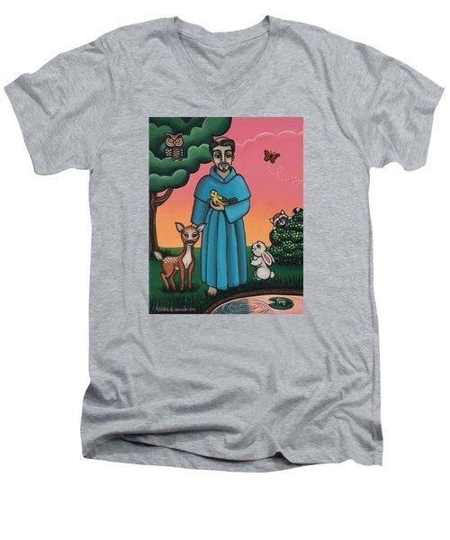 St. Francis Animal Saint Men's V-Neck T-Shirt