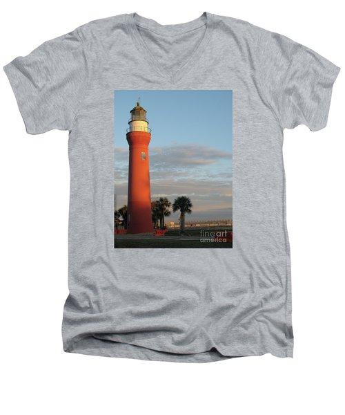 St. Johns River Lighthouse II Men's V-Neck T-Shirt by Christiane Schulze Art And Photography