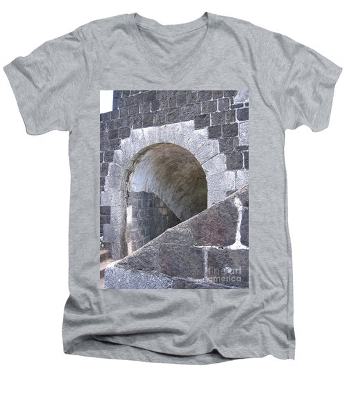 St. Kitts  - Brimstone Hill Fortress Men's V-Neck T-Shirt by HEVi FineArt